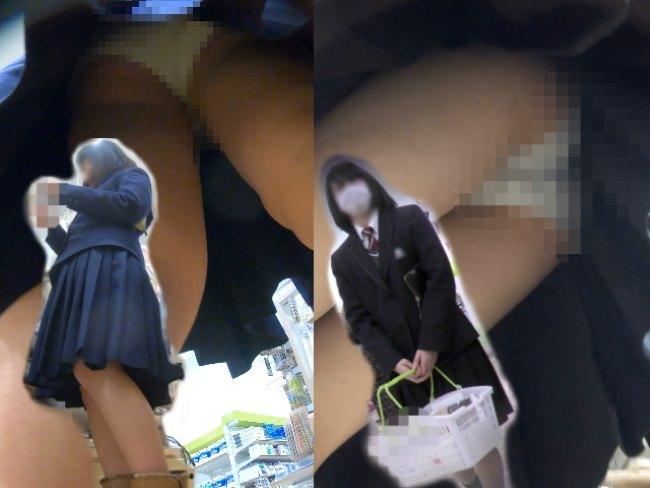 [4Kエンコード]イモっ娘制服Kちゃん2人の純白パンチラ